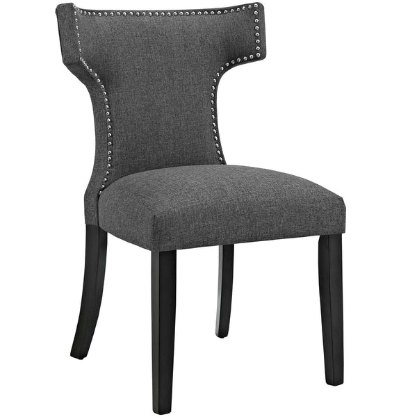 Dining Chairs - Modway EEI-2221-GRY Curve Fabric Dining Chair Studded Nailhead Trim | 889654065449 | Only $122.30. Buy today at http://www.contemporaryfurniturewarehouse.com