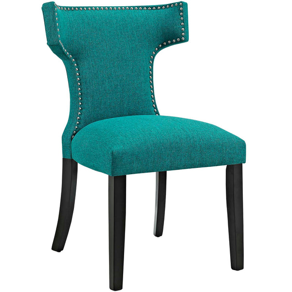 Dining Chairs - Modway EEI-2221-TEA Curve Fabric Dining Chair Studded Nailhead Trim | 889654065487 | Only $125.05. Buy today at http://www.contemporaryfurniturewarehouse.com