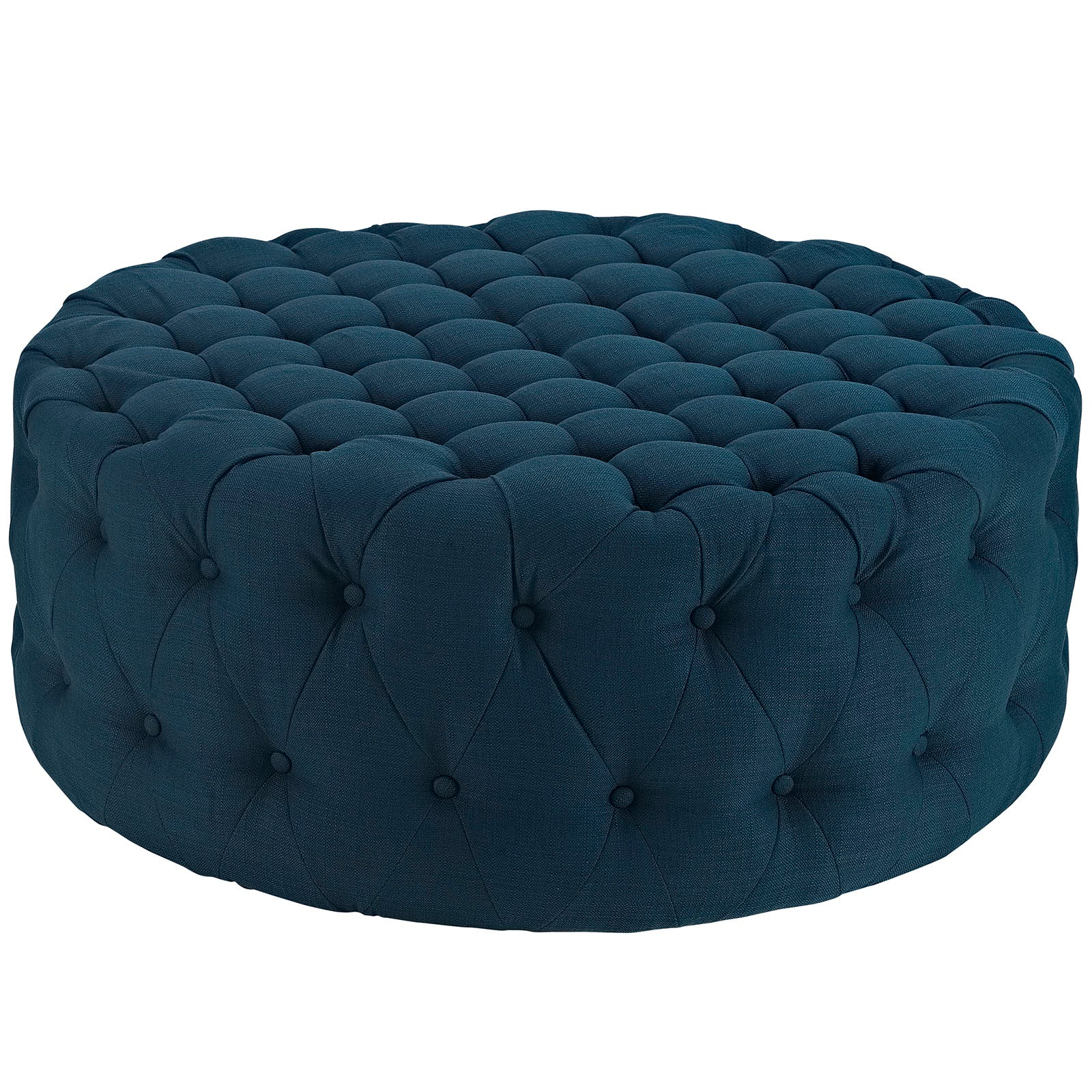 Modway Amour Large Round Upholstered Tufted Fabric Ottoman