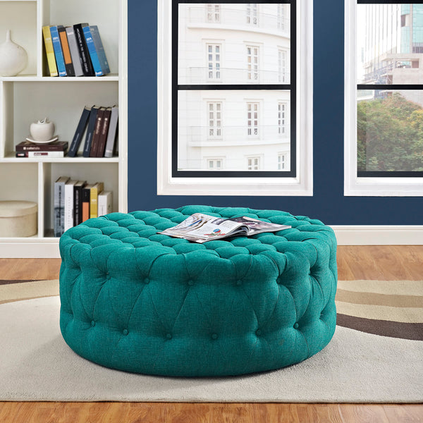 Amour Tufted Fabric Ottoman (Multiple Colors)