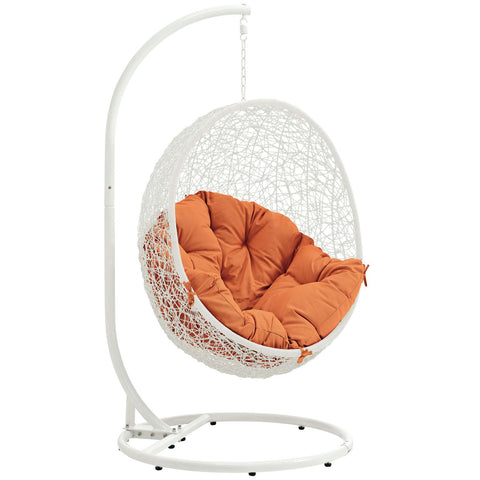 Hide Outdoor Patio Swing Chair White Orange | Modern Outdoor Lounge Chair by Modway at Contemporary Modern Furniture  Warehouse