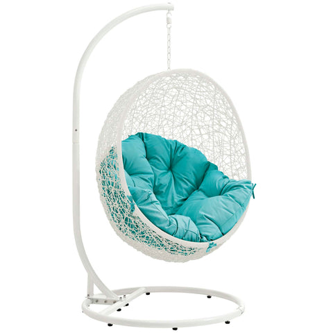 Hide Outdoor Patio Swing Chair White Turquoise | Modern Outdoor Lounge Chair by Modway at Contemporary Modern Furniture  Warehouse