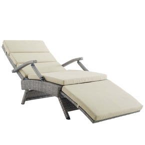 Modway EEI-2301-LGR-BEI Envisage Chaise Outdoor Patio Wicker Rattan Lounge Chair Light Gray Beige