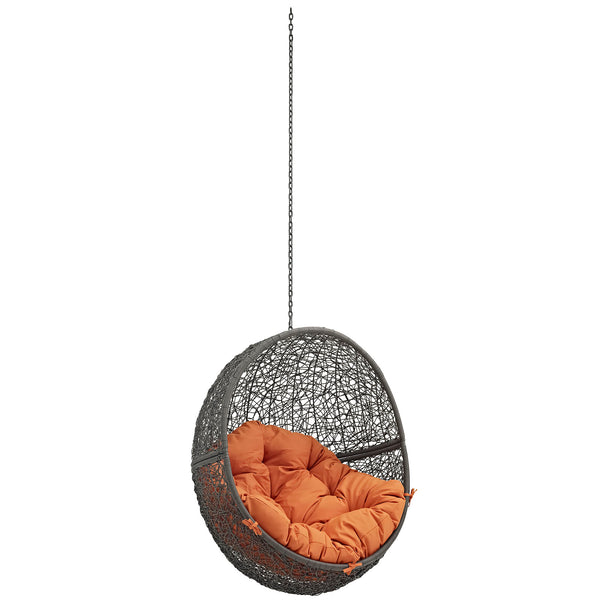 Modway EEI-2654-GRY-ORA Hide Outdoor Patio Swing Chair Without Stand Gray Orange