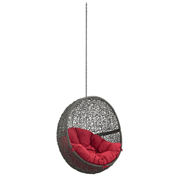 Modway EEI-2654-GRY-RED Hide Outdoor Patio Swing Chair Without Stand Gray Red