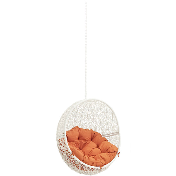 Modway EEI-2654-WHI-ORA Hide Outdoor Patio Swing Chair Without Stand White Orange