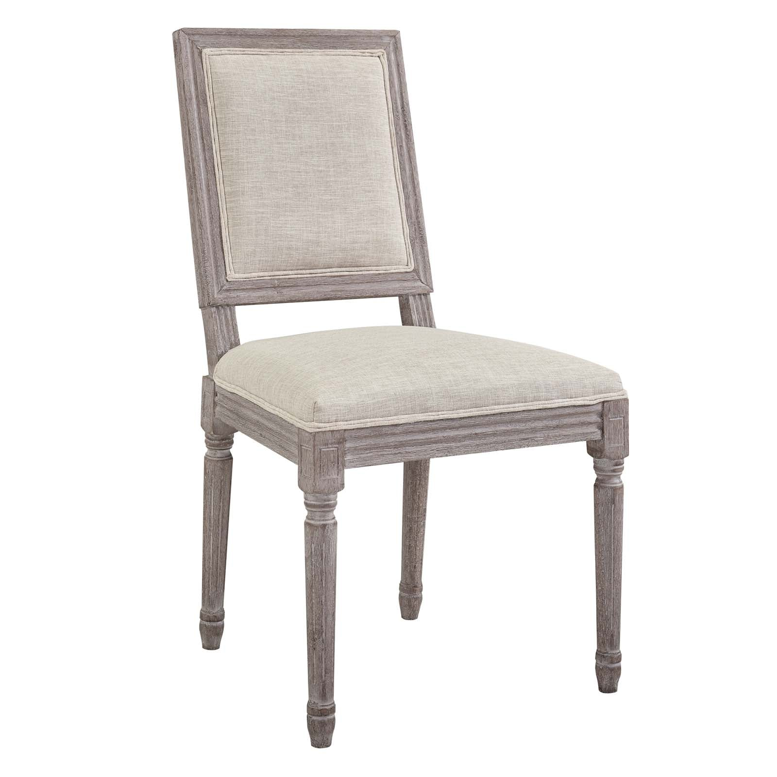 Modway eei 2682 bei court vintage french upholstered fabric dining side chair beige