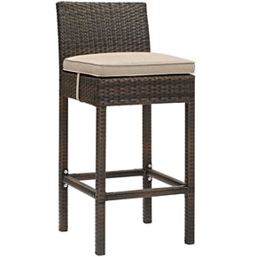 Modway EEI-2799-BRN-BEI Conduit Outdoor Patio Wicker Rattan Bar Stool Brown Beige