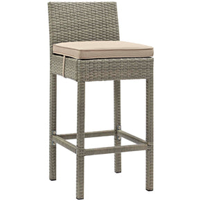 Modway EEI-2800-LGR-BEI Conduit Outdoor Patio Wicker Rattan Bar Stool Light Gray Beige
