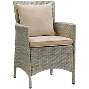 Modway EEI-2802-LGR-BEI Conduit Outdoor Patio Wicker Rattan Dining Armchair Light Gray Beige