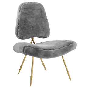 Modway EEI-2810-GRY Ponder Upholstered Sheepskin Fur Lounge Chair Gray