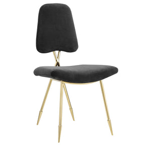 Modway EEI-2811-BLK Ponder Upholstered Velvet Dining Side Chair Black