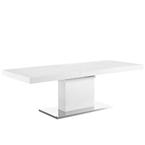 Modway EEI-2870-WHI-SLV Vector Expandable Dining Table White Silver