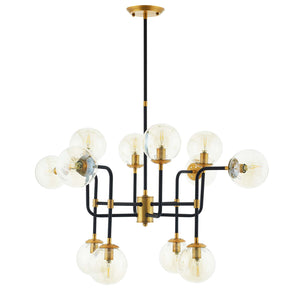 Modway EEI-2884 Ambition Amber Glass And Antique Brass 12 Light Pendant Chandelier Standard