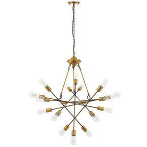 Modway EEI-2892 Request Antique Brass 18 Light Mid-Century Pendant Chandelier Standard