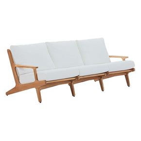 Modway EEI-2934-NAT-WHI Saratoga Outdoor Patio Premium Grade A Teak Wood Sofa Natural White