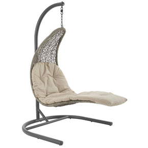 Outdoor Lounge Chairs - Modway EEI-2952-LGR-BEI Landscape Hanging Chaise Lounge Outdoor Patio Swing Chair | 889654146643 | Only $647.25. Buy today at http://www.contemporaryfurniturewarehouse.com