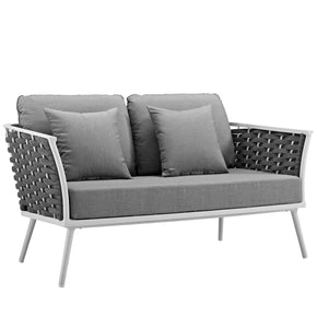 Modway EEI-3019-WHI-GRY Stance Outdoor Patio Aluminum Loveseat White Gray