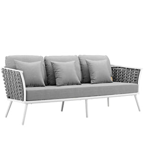 Modway EEI-3020-WHI-GRY Stance Outdoor Patio Aluminum Sofa White Gray