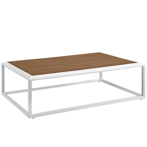 Modway EEI-3021-WHI-NAT Stance Outdoor Patio Aluminum Coffee Table White Natural