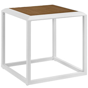 Modway EEI-3022-WHI-NAT Stance Outdoor Patio Aluminum Side Table White Natural