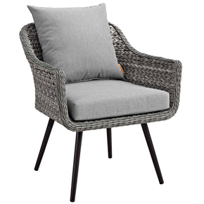 Modway EEI-3023-GRY-GRY Endeavor Outdoor Patio Wicker Rattan Armchair Gray Gray
