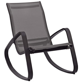 Modway EEI-3027-BLK-BLK Traveler Rocking Outdoor Patio Mesh Sling Lounge Chair Black Black