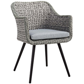 Modway EEI-3028-GRY-GRY Endeavor Outdoor Patio Wicker Rattan Dining Armchair Gray Gray