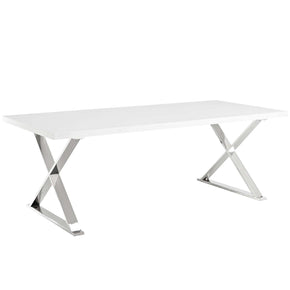 Modway EEI-3033-WHI Sector Dining Table White Silver White Silver