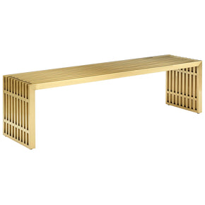 Modway EEI-3035-GLD Gridiron Medium Stainless Steel Bench Gold