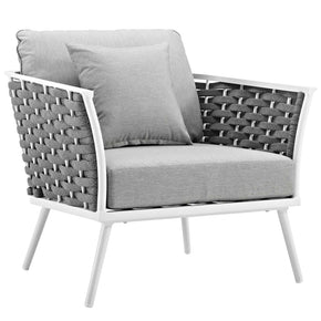 Modway EEI-3054-WHI-GRY Stance Outdoor Patio Aluminum Armchair White Gray