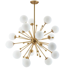 Modway EEI-3077 Constellation White Glass and Brass Pendant Chandelier Default Title