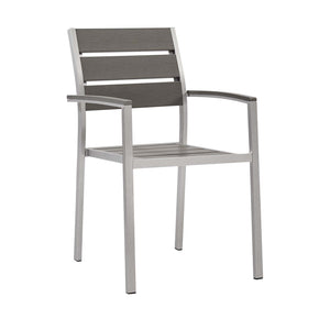 Modway EEI-3130-SLV-GRY Shore Outdoor Patio Aluminum Dining Armchair Silver Gray