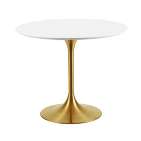 "Modway EEI-3209-GLD-WHI Lippa 36"" Round Dining Table Gold White"