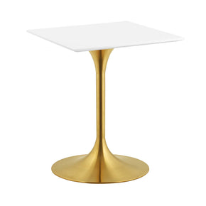 "Modway EEI-3210-GLD-WHI Lippa 24"" Square Dining Table Gold White"
