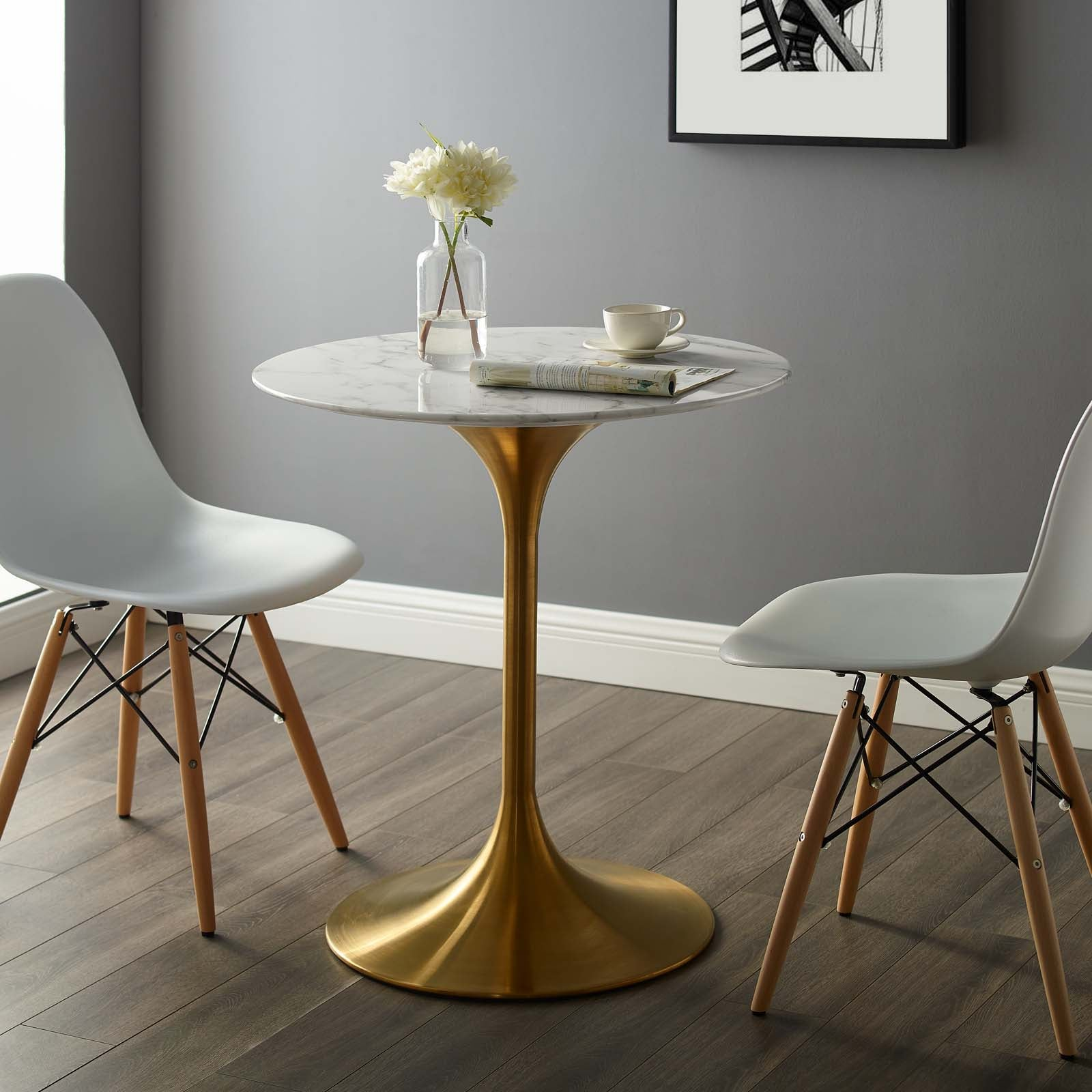 Modway EEI-3233-GLD-WHI Lippa 54 Round Dining Table Gold White