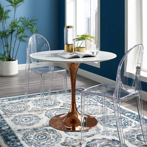 "Lippa 36"" Round Dining Table Rose Gold / White"