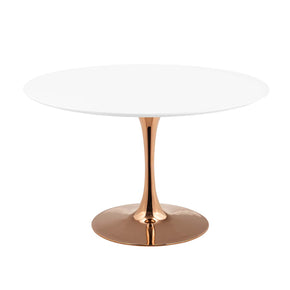 "Modway EEI-3238-ROS-WHI Lippa 47"" Round Dining Table Rose White"