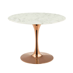 "Modway EEI-3242-ROS-WHI Lippa 40"" Round Artificial Marble Dining Table Rose White"