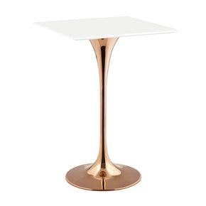 "Bar Tables - Modway EEI-3266-ROS-WHI Lippa 28"" Square Bar Table Rose Gold / White 