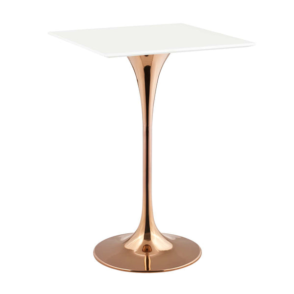 "Modway EEI-3266-ROS-WHI Lippa 28"" Square Bar Table Rose White"