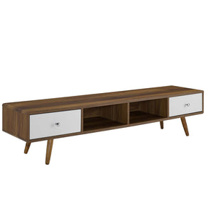 "Modway EEI-3302-WAL-WHI Transmit 70"" Media Console Wood TV Stand Walnut White"