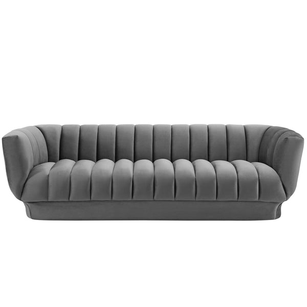 Entertain Vertical Channel Tufted Performance Velvet Sofa