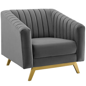 Modway EEI-3404-GRY Valiant Vertical Channel Tufted Performance Velvet Armchair Gray