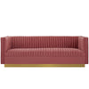 Modway EEI-3405-DUS Sanguine Vertical Channel Tufted Performance Velvet Sofa Dusty Rose