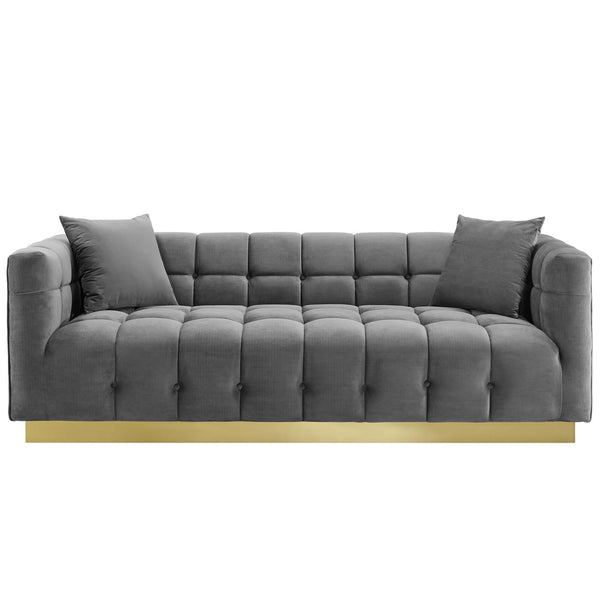 Modway EEI-3409-GRY Vivacious Biscuit Tufted Performance Velvet Sofa Gray