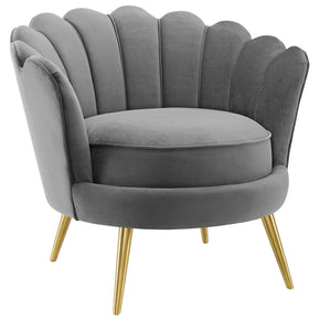 Modway EEI-3410-GRY Admire Scalloped Edge Performance Velvet Accent Armchair Gray