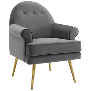 Modway EEI-3412-GRY Revive Tufted Button Accent Performance Velvet Armchair Gray