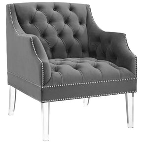 Modway EEI-3413-GRY Proverbial Tufted Button Accent Performance Velvet Armchair Gray