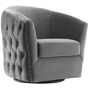 Modway EEI-3434-GRY Rogue Swivel Performance Velvet Armchair Gray